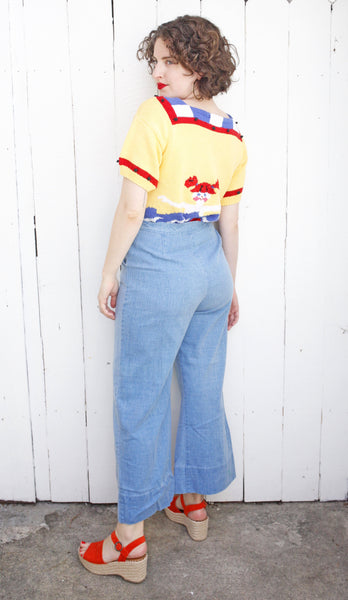 Light Wash Wide Leg Denim | Medium 28""