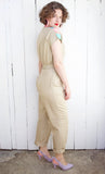 Tan + Pastel Cotton Jumpsuit | Small