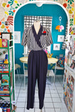 Navy and White Striped Jumpsuit | Medium