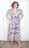 SOLD Floral + Fruit Print Canvas Jumpsuit | Medium
