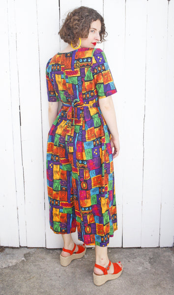 Colorful Cotton Wide Leg Jumpsuit | Medium