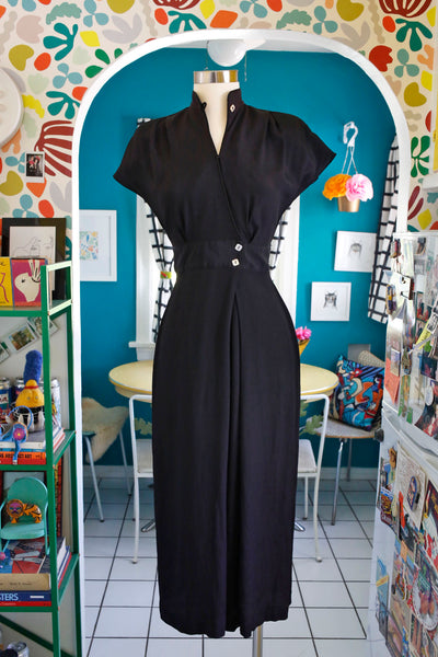 Black and Gold Linen Blend Jumpsuit | Large - Coast to Coast Mobile Vintage