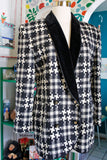 Escada Houndstooth Wool Blazer | Large