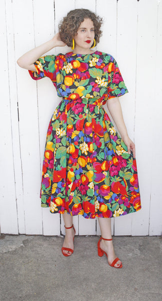 Cutie Fruity Print Cotton Dress M|L