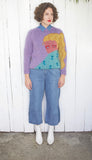 Lilac 'Girl With Ponytail' Hand Knit Sweater S|M - Coast to Coast Mobile Vintage