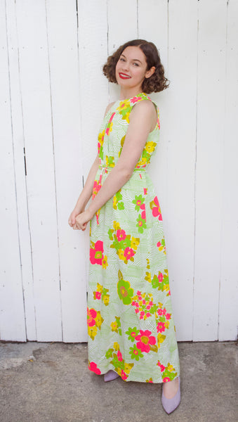Neiman-Marcus Neon Floral Maxi Dress | Small