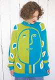 SOLD Pronto Moda Face Print Sweater with Original Tags M|L