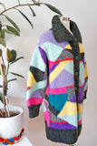 Incredible Technicolor Hand Knit Sweater Coat L|XL