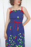 SOLD Navy Strawberry Print Sundress | Medium