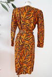 Silk Tiger Print Belted Dress | Medium