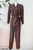 SOLD Belted Brown Striped Suit | Medium
