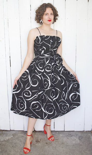 Swirl Print Cotton Party Dress with Tulle Lining | Small
