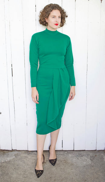 Martine Sitbon Emerald Green Virgin Wool Dress | Small