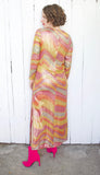 SOLD Amazing Metallic Rainbow Waves Maxi Dress | Medium