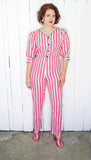 SOLD Pink Candy Striped Jumpsuit | Medium