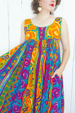 Colorful Abstract Print Tent Dress M|L