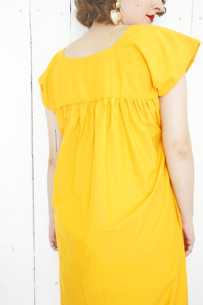 Golden Yellow Embroidered Dress L|XL