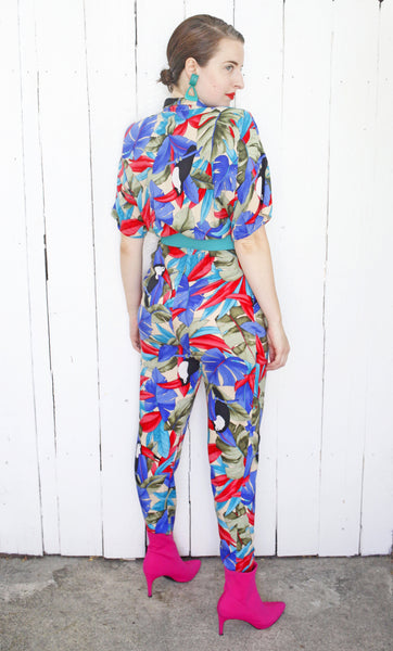 Tropical Toucan Print Jumpsuit M|L