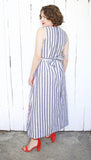 SOLD Charcoal Gray Striped Novelty Picnic Maxi Dress M|L