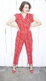 Red Floral Print Jumpsuit | Medium
