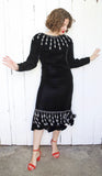 Argenti Black Velvet Dress with Beaded Trim | Medium