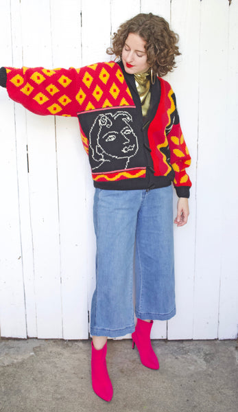 Hand Knit Matisse Inspired Wool Sweater | Large