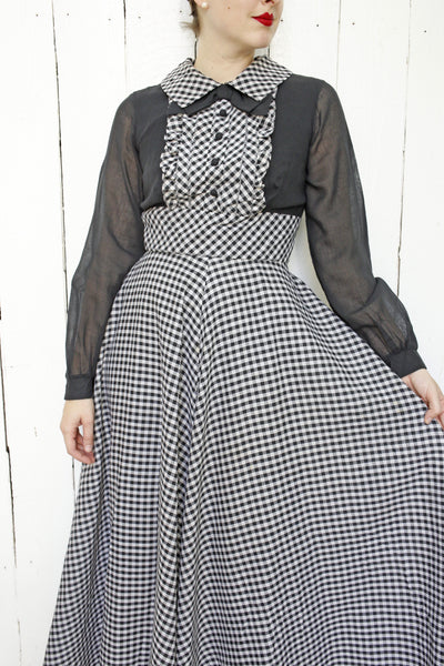 Gingham Tuxedo Dress | Medium
