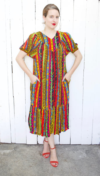 Colorful Printed Tent Dress | Medium