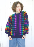 SOLD Cute Rainbow Pure New Wool Sweater | Large