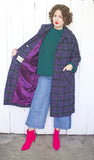 Green + Purple Plaid Wool Coat | XL