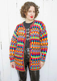 SOLD Christine Foley Colorful Cotton Cardigan L|XL