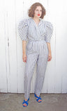 SOLD Gray and White Striped Jumpsuit | Medium - Coast to Coast Mobile Vintage