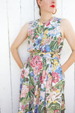 SOLD Mixed Floral Print Cotton Sundress with Criss-Cross Back | Medium - Coast to Coast Mobile Vintage