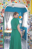 SOLD Carol Anderson Emerald Green Shirtdress | Medium