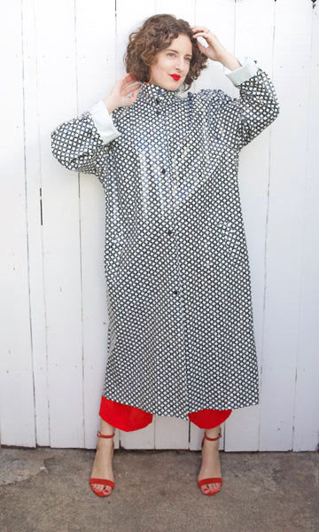 Vinyl Polka Dot Rain Jacket L|XL