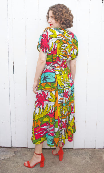 SOLD Abstract Palm Tree Print Dress | Large