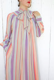 SOLD Umi Collections Pastel Striped Silk Dress with Pussy Bow | Large - Coast to Coast Mobile Vintage