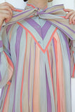 SOLD Umi Collections Pastel Striped Silk Dress with Pussy Bow | Large
