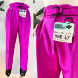 Italian Raspberry Purple Stretch Ski Pants with Stirrups | Petite Small