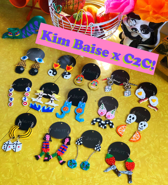 ! Kim Baise x C2C Handcrafted Papier Mache Earrings!!