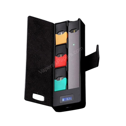 FUMA JBox (Black) Portable Carry Case & Power Bank for JUUL Device & Pods - Personal Charging Case (PCC) - vapersandpapers.com