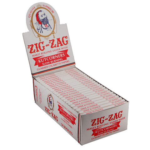 Zig Zag White Cut Corners Single Wide Rolling Paper - 24 Count Box - vapersandpapers.com
