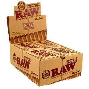 RAW Perfecto Pre-Rolled Cone Tips - 20 Count Box - vapersandpapers.com