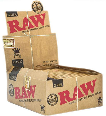 RAW Classic Kingsize Slim Rolling Paper - 50 Count Box - vapersandpapers.com