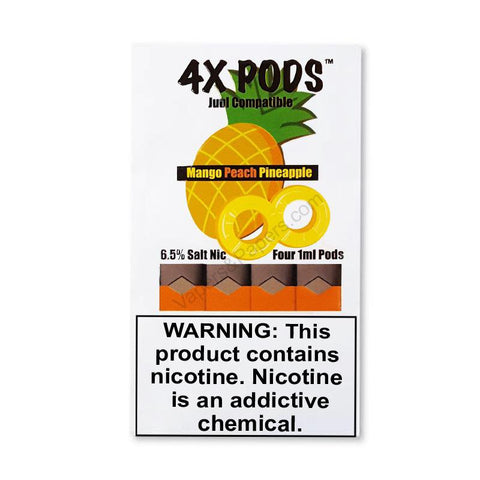 4X JUUL Compatible Pod Tanks - 6.5% Salt Nicotine - Mango Peach Pineapple (4 Pack) - vapersandpapers.com