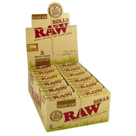 RAW Organic 5 Meter Rolling Paper Roll - 24 Count Box - vapersandpapers.com