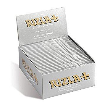 Rizla Silver Kingsize Slim Rolling Paper - 50 Count Box - vapersandpapers.com