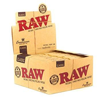 RAW Classic Connoisseur Kingsize Slim Rolling Paper w/ Tips - 24 Count Box - vapersandpapers.com