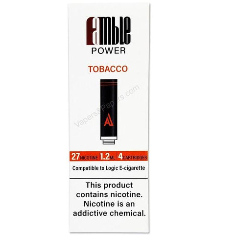 amble Power Cartomizer Tanks - 2.4% (27mg) Nicotine - Tobacco Flavor (4 Pack) - vapersandpapers.com