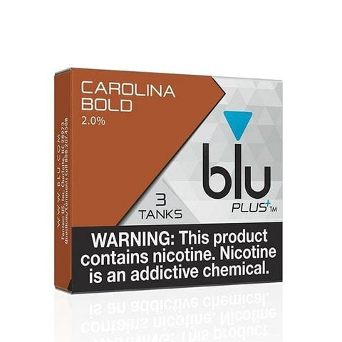 Blu Plus+ 1.0mL Cartomizer Tanks - 2.4% Nicotine - Carolina Bold (3 Pack) - vapersandpapers.com